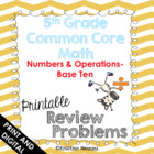 5th Grade Common Core Math Homework Printables Numbers Ope