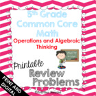 5th Grade Common Core Math Homework Printables Operations 