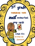 5th Grade Common Core Math Test Prep/ review cards- multip