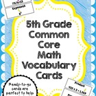 5th Grade Common Core Math Vocabulary Cards
