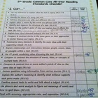5th Grade Common Core Student Checklist
