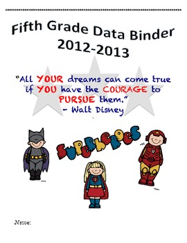5th Grade Common Core Student Data Binder Superheroes Theme