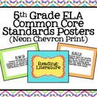 5th Grade ELA Common Core Posters- Neon Chevron Print!
