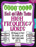 5th Grade High Frequency Word Cards/Black and White - Set 1