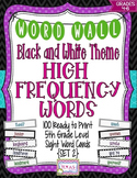 5th Grade High Frequency Word Cards/Black and White - Set 2