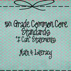 5th Grade Literacy and Math Common Core I Can Statements H