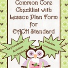 5th Grade Math Common Core Checklist - Lesson Planning Form