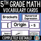 5th Grade Math Common Core Vocabulary Cards