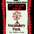 5th Grade Math Common Core Vocabulary Complete Pack *Domain 1*