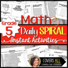 5th Grade Math Spiral Review for Common Core Skills *100 R