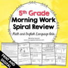 5th Grade Math and English Language Daily Morning Work {Co