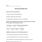 5th Grade Nouns and Articles Test and Study Sheet