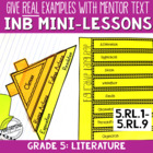 Reading Interactive Notebook with Mentor Text 5th grade -