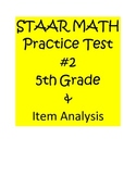 5th Grade STAAR Math Practice Assessment #2 & Item Analysis