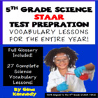 5th Grade STAAR Science Review, 27 Vocabulary Lessons,Diff