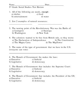 5th Grade Social Studies NYS Exam Test Prep Review Quiz Packet