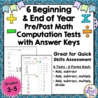 6 Math Basic Computation Tests & Keys - Back to School Ass