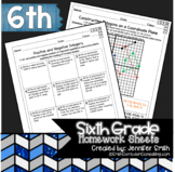 6th Grade Common Core Math Homework Sheets Bundle
