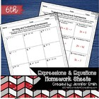 6th Grade Common Core Math Homework Sheets- Expressions an