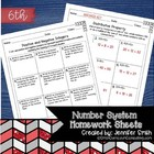 6th Grade Common Core Math Homework Sheets- The Number System