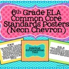 6th Grade ELA Common Core Posters- Neon Chevron Print!
