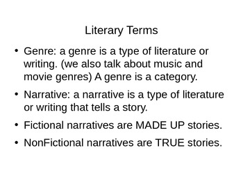 6th Grade ELA Interactive Notebook: Literary Terms