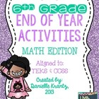 6th Grade Math End of Year Activities