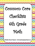 6th Grade MATH CORE Curriculum Checklists with Strategies,