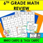6th Grade Math Review Bingo and Task Cards, Common Core Al