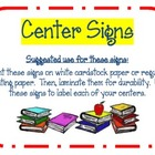 7 Center Signs ~ Colorful &amp; Cute 