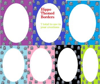 7 colorful hippo borders
