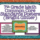 7th Grade Common Core Math Standards Posters- Bright Glitter