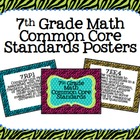 7th Grade Common Core Math Standards Posters- Zebra Print