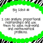 7th Grade Math Common Core Big Idea Posters - Lime Green
