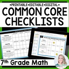 7th Grade Math Common Core Standards Checklists