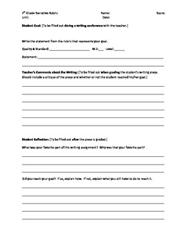 7th Grade Narrative Writing Rubric - Common Core Standards