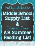 7th and 8th Grade Supply List & Common Core Summer Reads