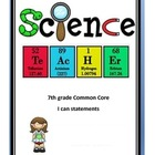 7th grade Common Core I Can statement Checklist