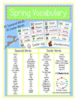 80 Spring Vocabulary Cards