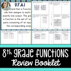 8th Grade Common Core Functions Review Booklet