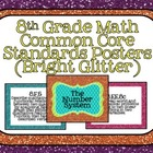 8th Grade Common Core Math Standards Posters- Bright Glitter!