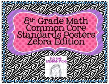 8th Grade Common Core Math Standards Posters- Zebra!
