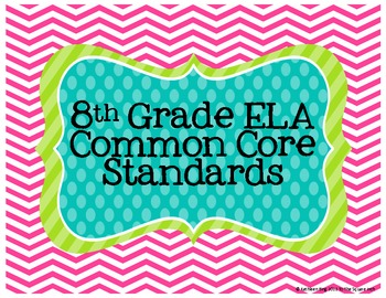 8th Grade ELA Common Core Posters- Chevron Print!