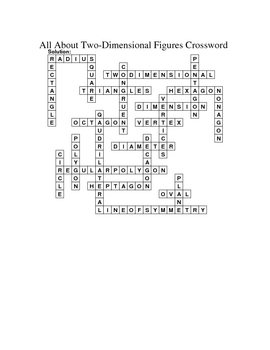 8th Grade Math Vocabulary Crossword Puzzles