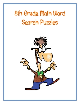 8th Grade Math Vocabulary Word Search Puzzles