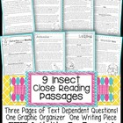 9 Insect Passages for Close Reading, Assessments, Homework
