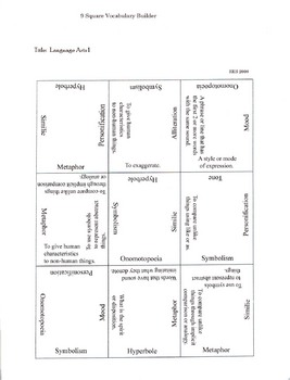 9 Square Vocabulary Building Activity
