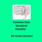 9th Grade English Literature Common Core Standards Checkli