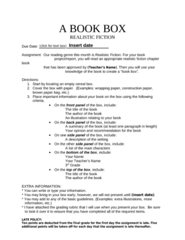 A Book Box: Book Report Project