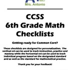 A+ Common Core Standards Checklist - 6th Grade Math
